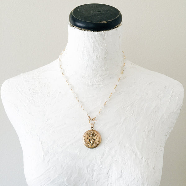 Floral Vase Locket and Moonstone Necklace