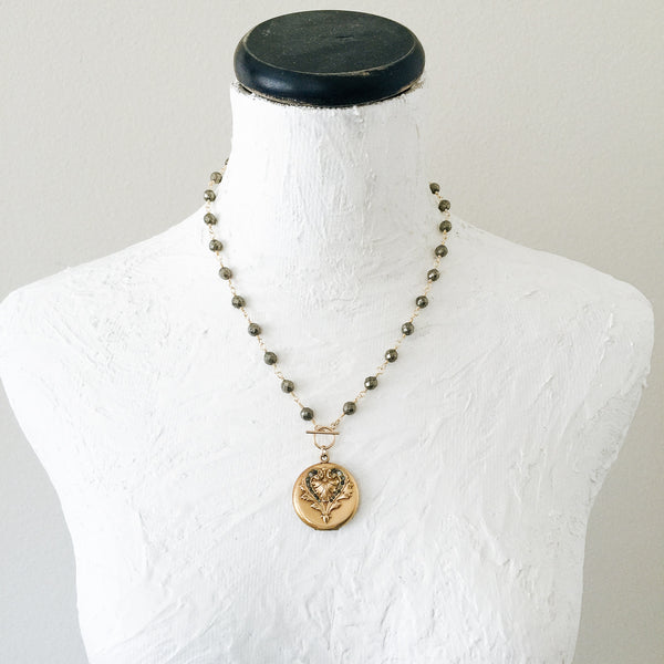 Scrolled Heart Locket and Pyrite Necklace