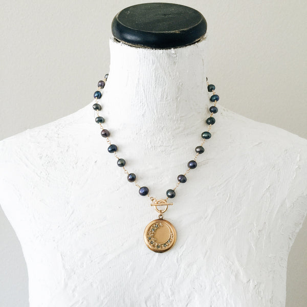 Crescent Moon Locket with Peacock Freshwater Pearls Necklace