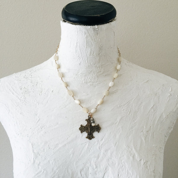Scapular Cross Medallion and Rosary Necklace