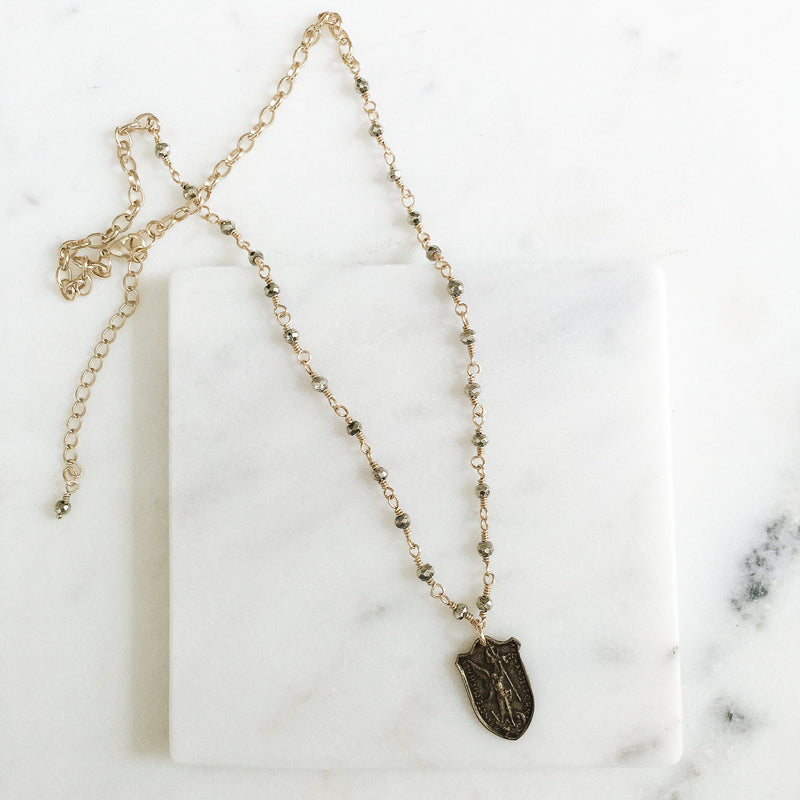 Saint Michael Archangel Pyrite Necklace