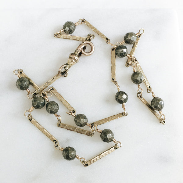 Antique Watch Chain Links With Pyrite Gemstones Necklace