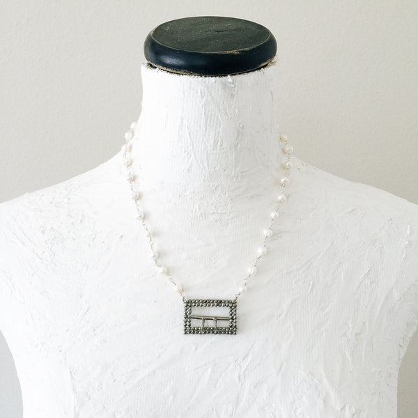 Cut Steel Buckle and Freshwater Pearl Necklace