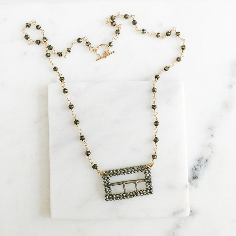Cut Steel Buckle and Pyrite Gemstone Necklace