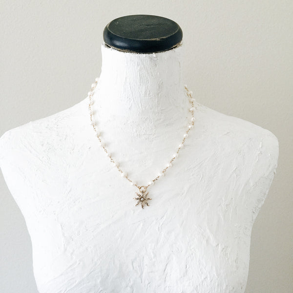 Gold Starburst and Freshwater Pearl Necklace