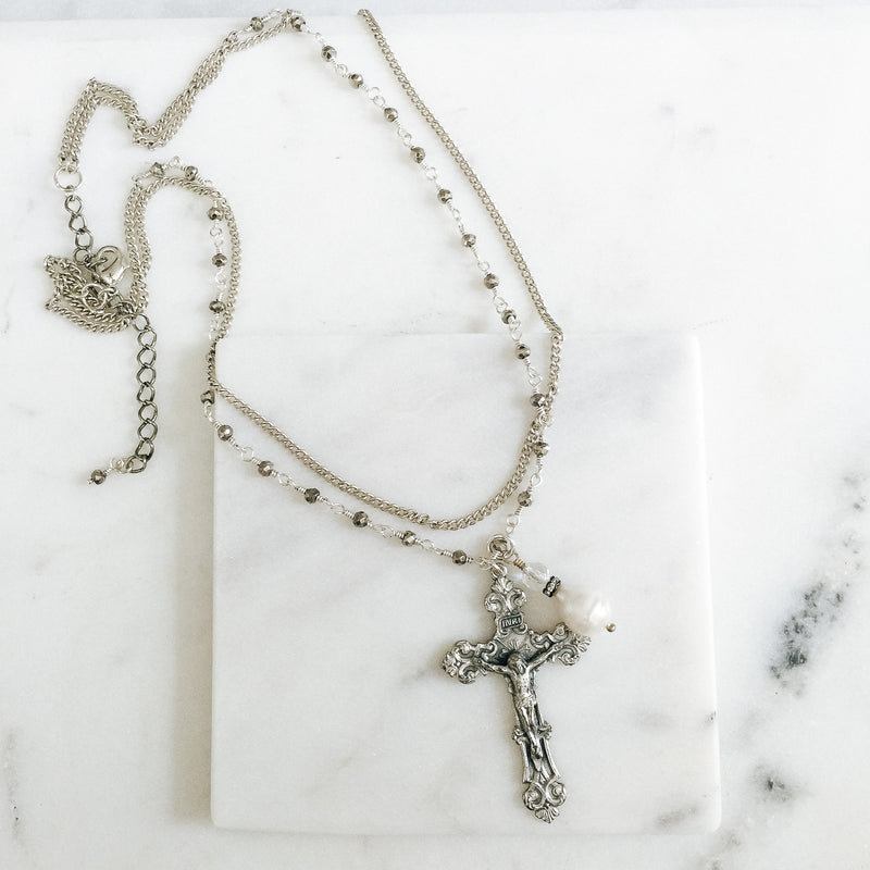 Vintage Silver Cross and Baroque Pearl Necklace