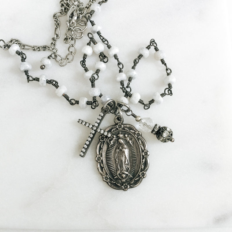 Crowned Mary with Natural White Sapphire Necklace