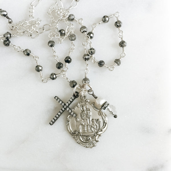 True Devotion To Mary and Pyrite Necklace