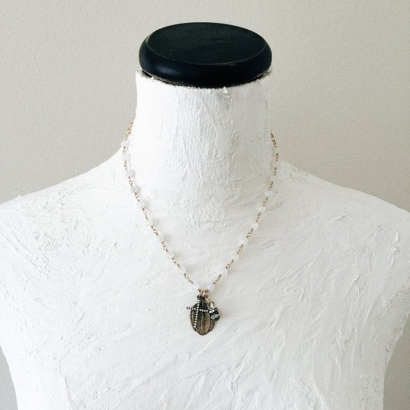 Miraculous Mary with Moonstones Necklace