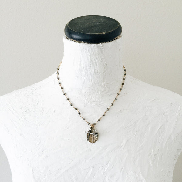 Miraculous Mary with Pyrite Necklace