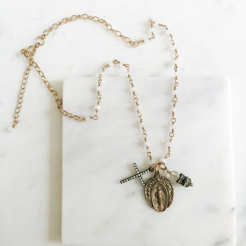 Miraculous Mary with Petite Moonstones Necklace