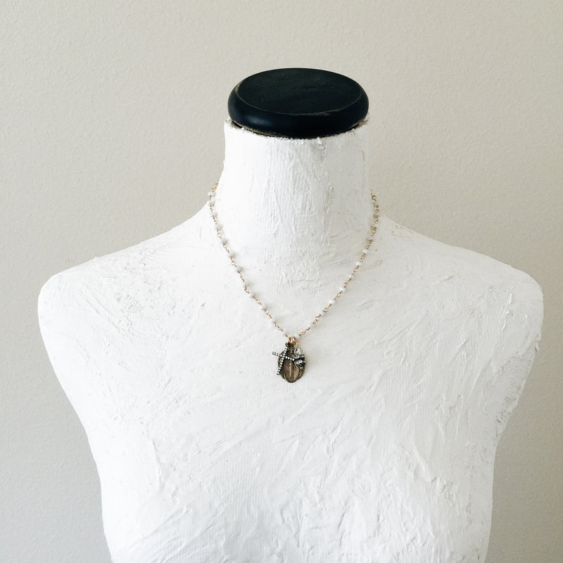 Miraculous Mary with White Sapphires Necklace