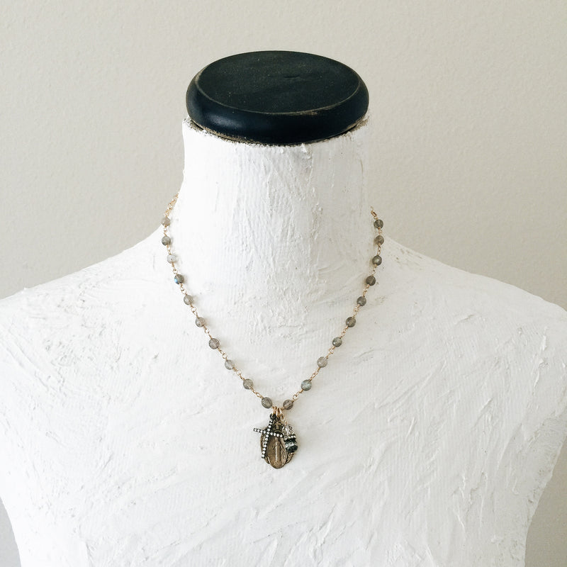 Miraculous Mary with Labradorites Necklace