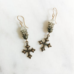 Gothic Cross and Gemstone Earrings