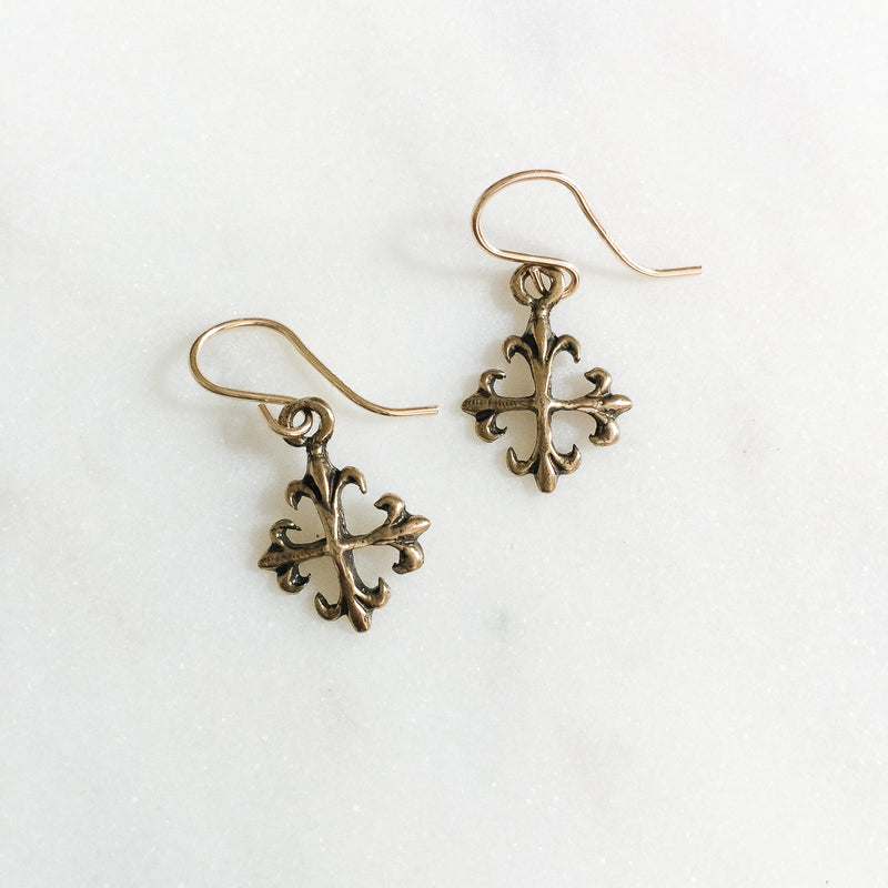 Fleur de Lis Cross Earrings