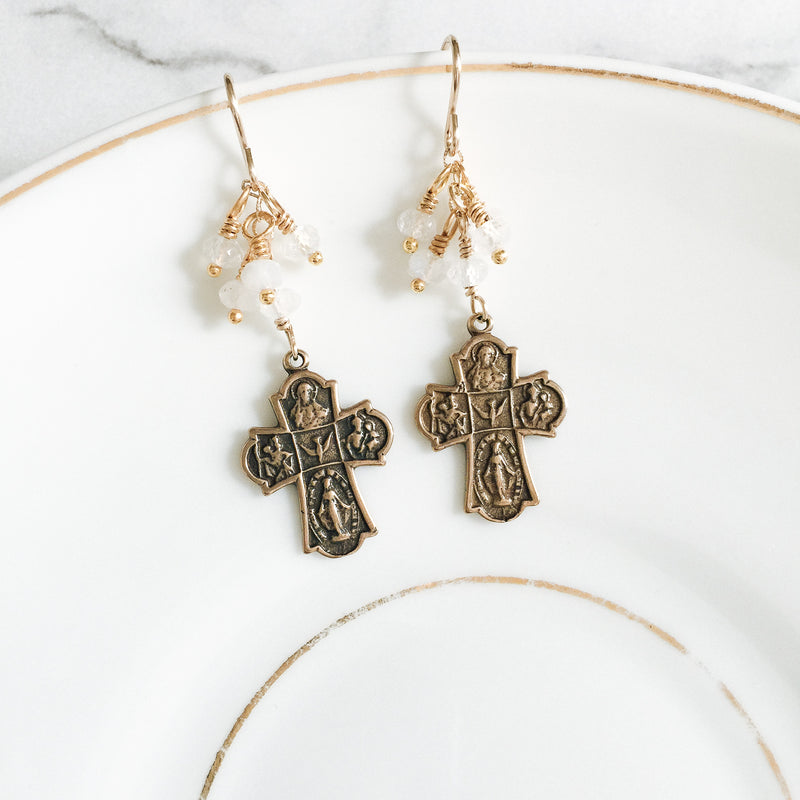 Four Way Cross and Moonstone Earrings