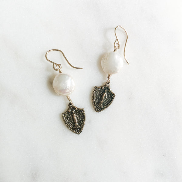 Miraculous Mary Bronze Earrings
