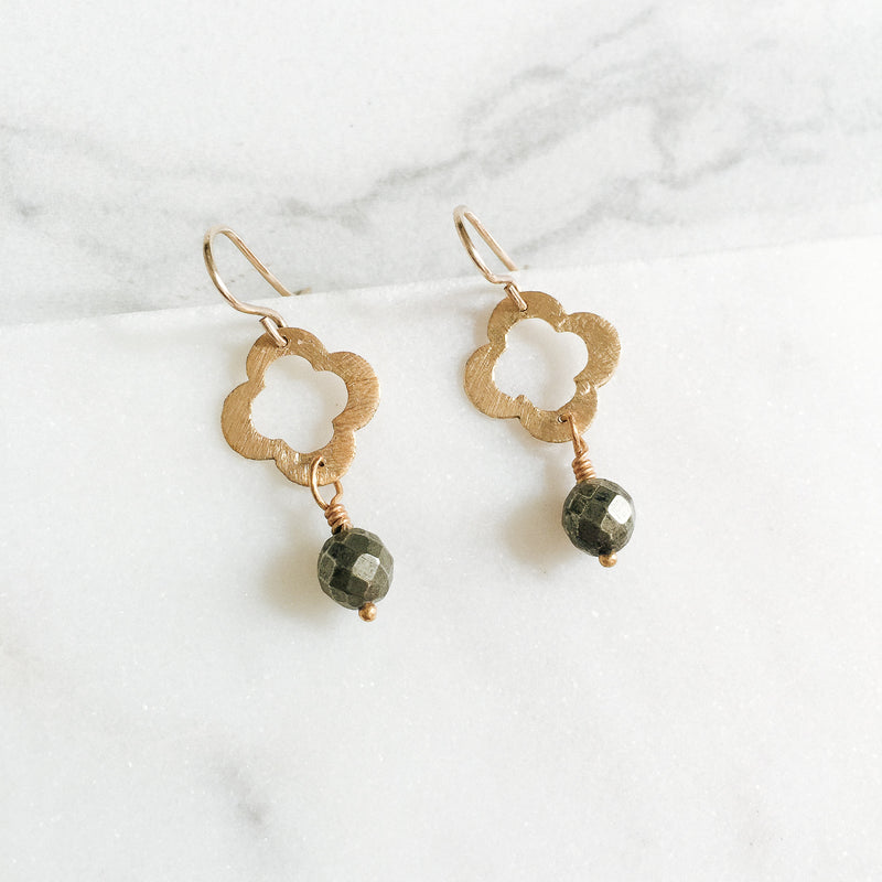 Clover Pyrite Gemstone Earrings