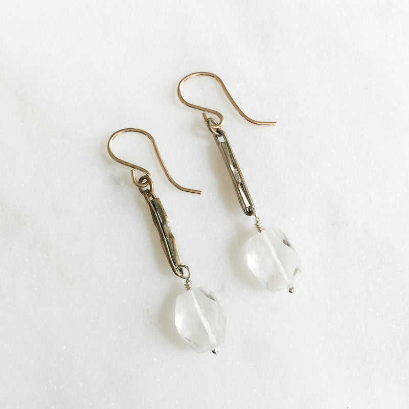 Watch Chain Link and Quartz Earrings