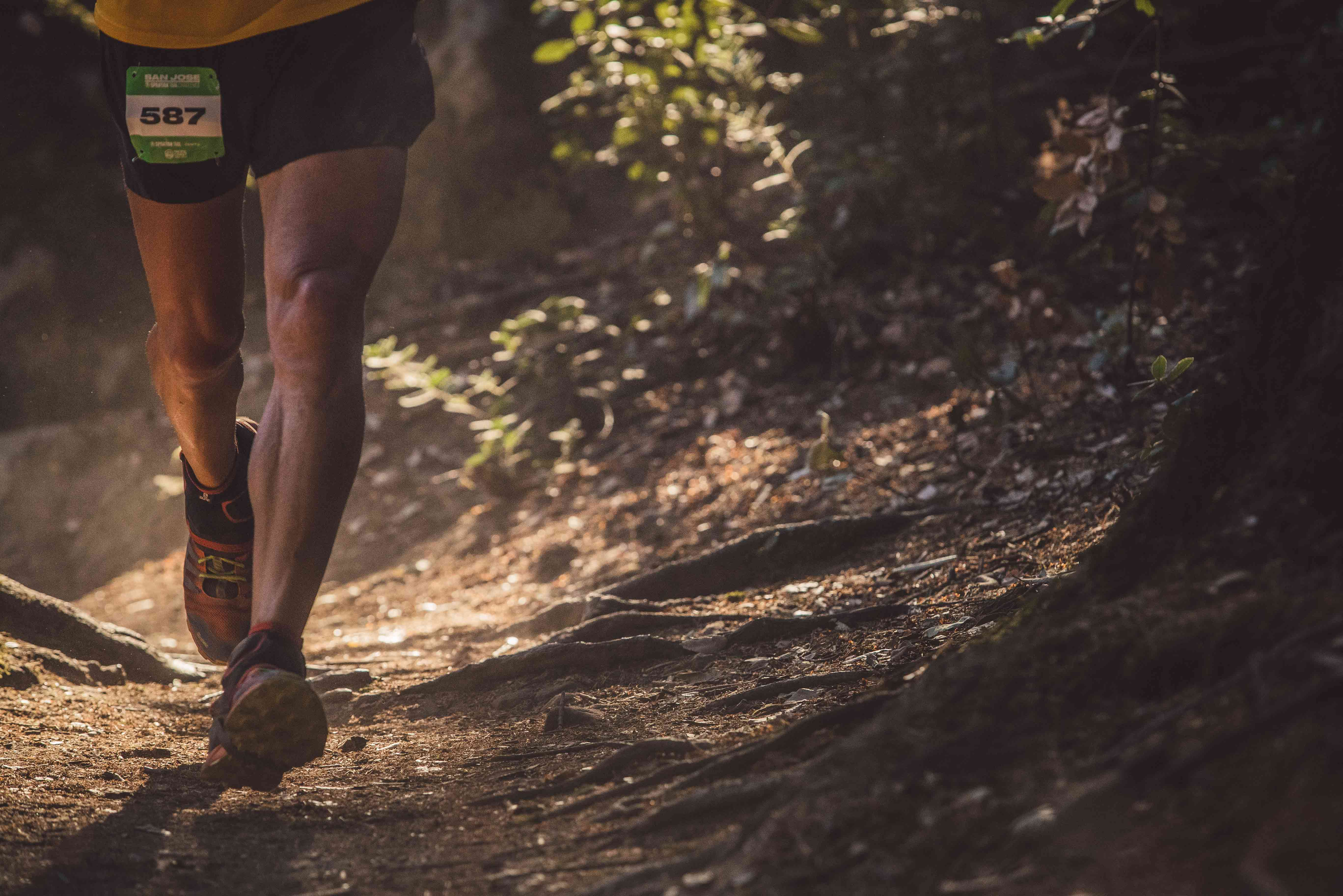 A Spartan Trail racer completes a trail run after preparing with exercises for IT band and ankle sprain issues.