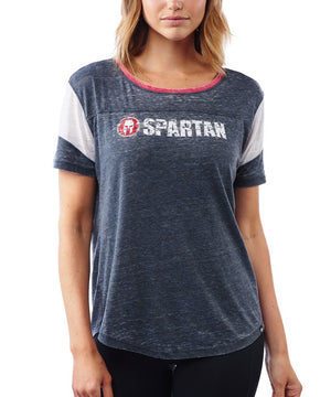 47 Brand SPARTAN '47 Fade Out Boyfriend Tee - Women's Jet Black/Red XS