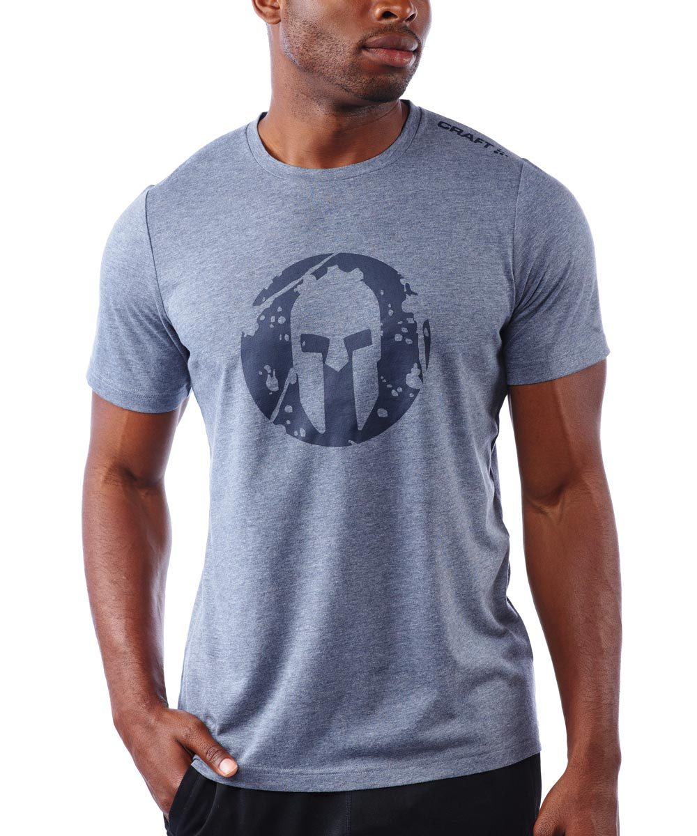 CRAFT SPARTAN By CRAFT Helmet Logo Tri-Blend SS Tee - Men's Blaze Heather S