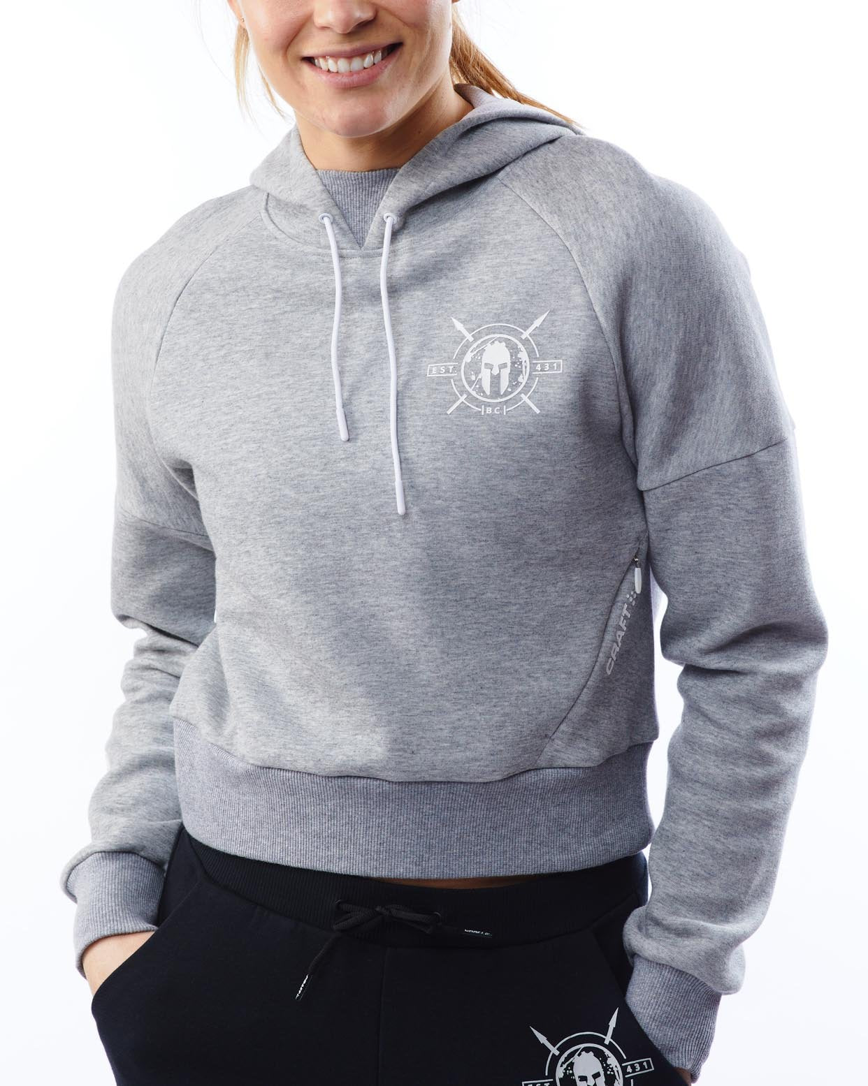 CRAFT SPARTAN By CRAFT District Cropped Hoodie - Women's Gray XS