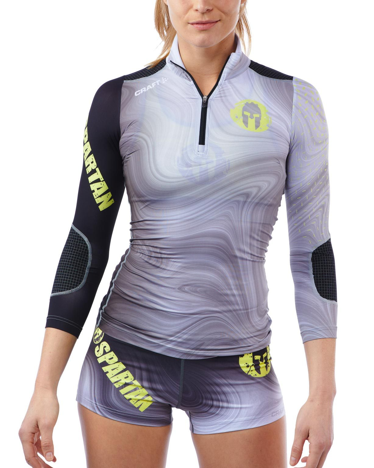 CRAFT SPARTAN By CRAFT Delta Half Zip Top - Women's Gray/Snap Yellow XS