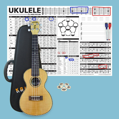 Kahuna Flame Maple Concert Ukulele Bundle