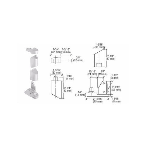 Door Resources J40<br>Pivot Hinge Set For Use On Amarlite, Arch Aluminum and Rebco DoorsPivot HingesDoor Resources - Door Resources