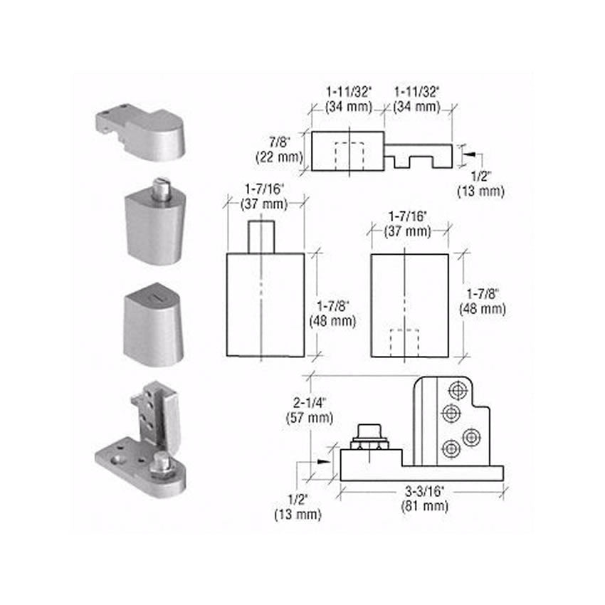 Door Resources J70<br>Pivot Hinge Set For Use On Kawneer DoorsPivot HingesDoor Resources - Door Resources