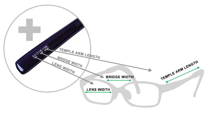 c9045058fa65 If your child is already wearing glasses you will be able to check the size  of their current frames by reading the labelling within the frames - below  is an ...