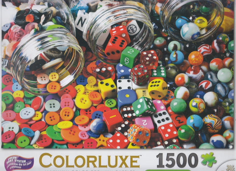 Colorluxe 1500 Piece Puzzle - Buttons, Dice and Marbles