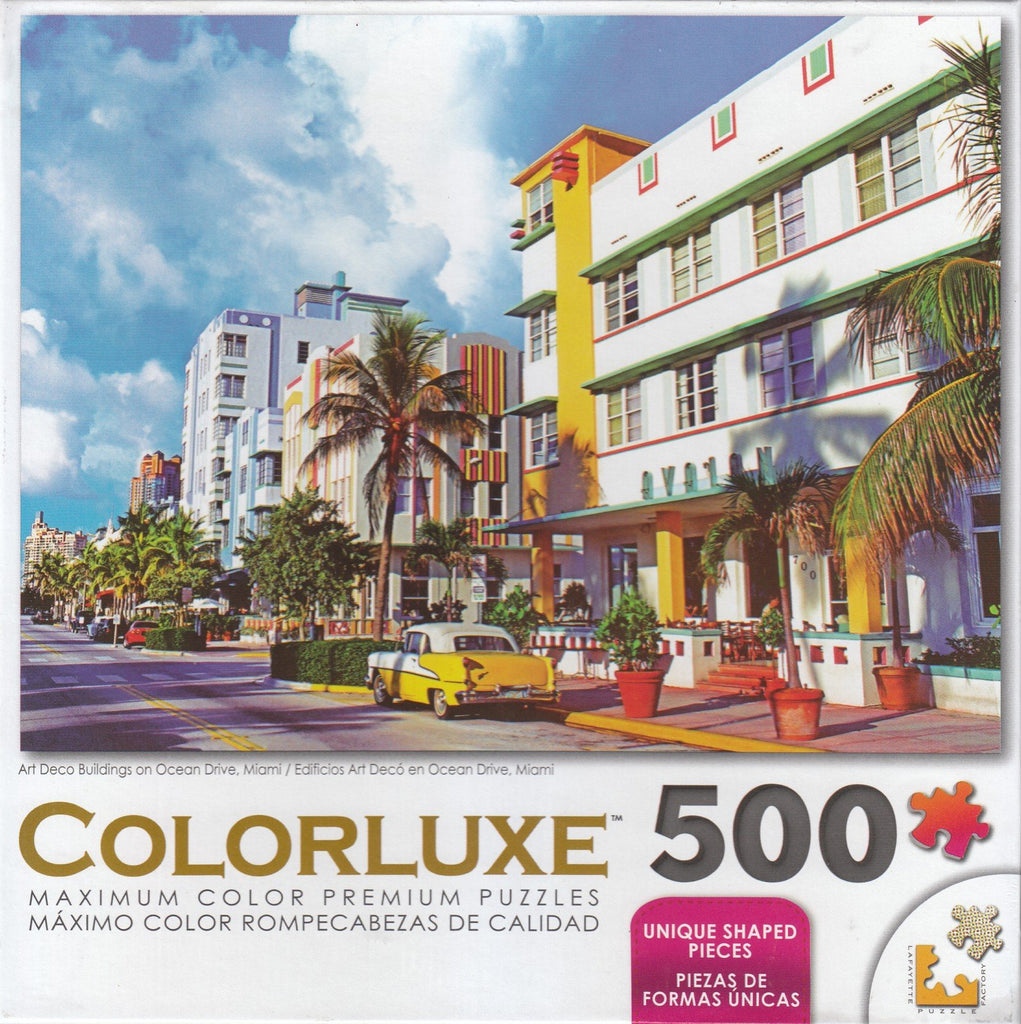 Colorluxe 500 Piece Puzzle - Art Deco Buildings on Ocean Drive