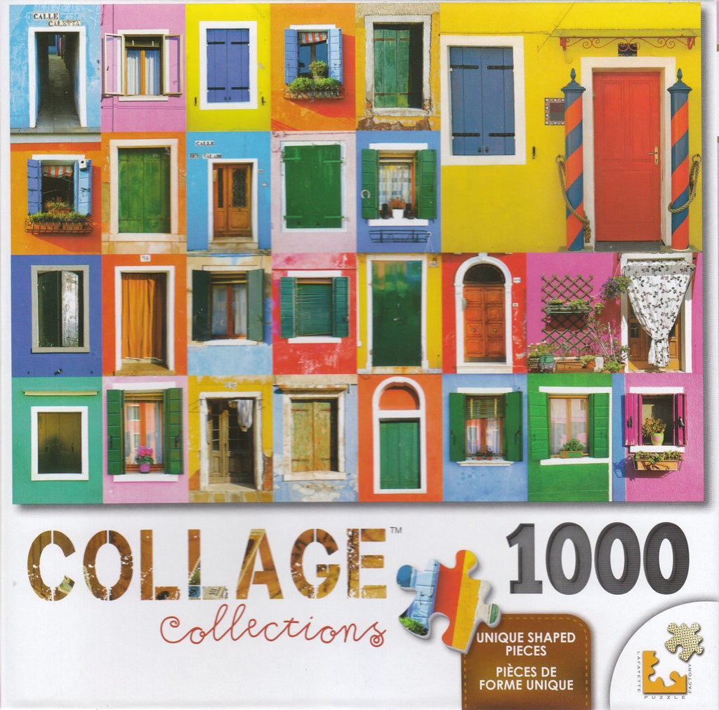 Collage 1000 Piece Puzzle - Colorful Doors