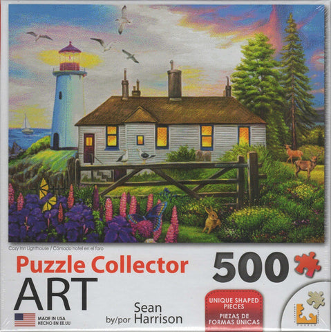Puzzle Collector Art 500 Piece Puzzle - Cozy Inn Lighthouse 500 Piece Puzzle