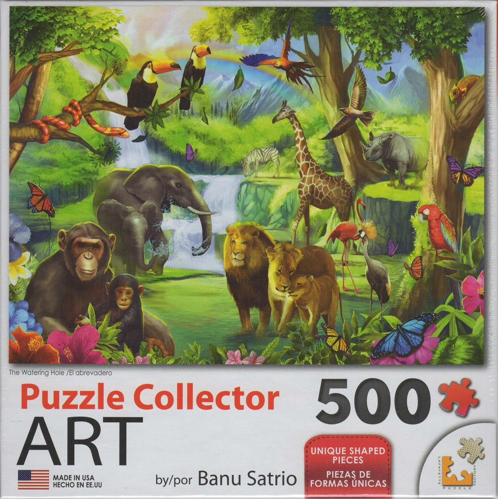 Puzzle Collector Art 500 Piece Puzzle - Watering Hole 500 Piece Puzzle