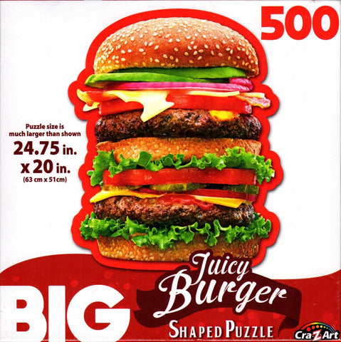 Big Juicy Burger Shaped 500 Piece Puzzle