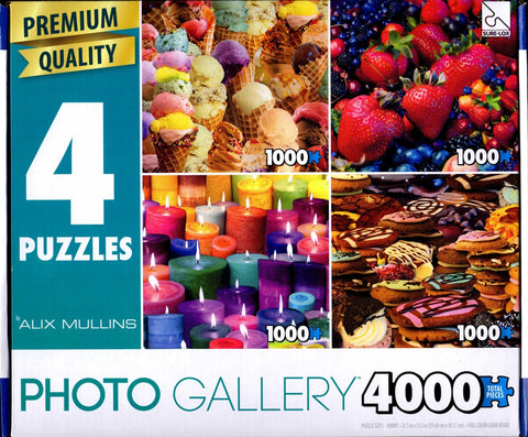 4 1000 Piece Puzzles: Ice Cream Cones Collage, Mixed Berries Collage, Candles Collage, Cookies Collage