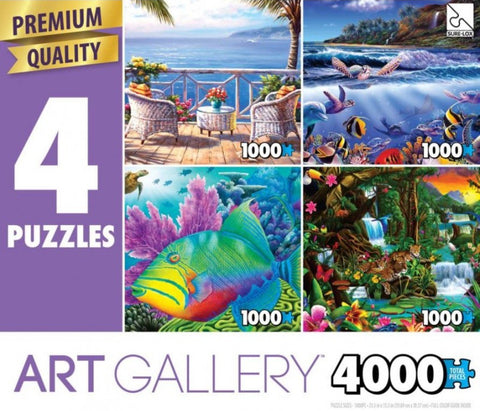 4 1000 Piece Puzzles: Two By the Sea, Turtle Town Joy, Trigger Happy, Beautiful Rainforest