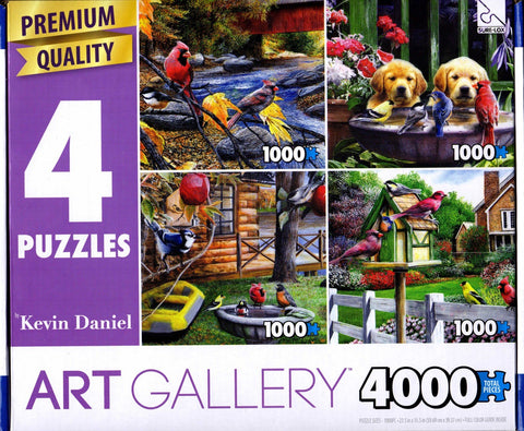 4 1000 Piece Puzzles: Fall Feathers and Foliage, Birds in Bath, Birds & Cabin, Spring Flowers and Feathers