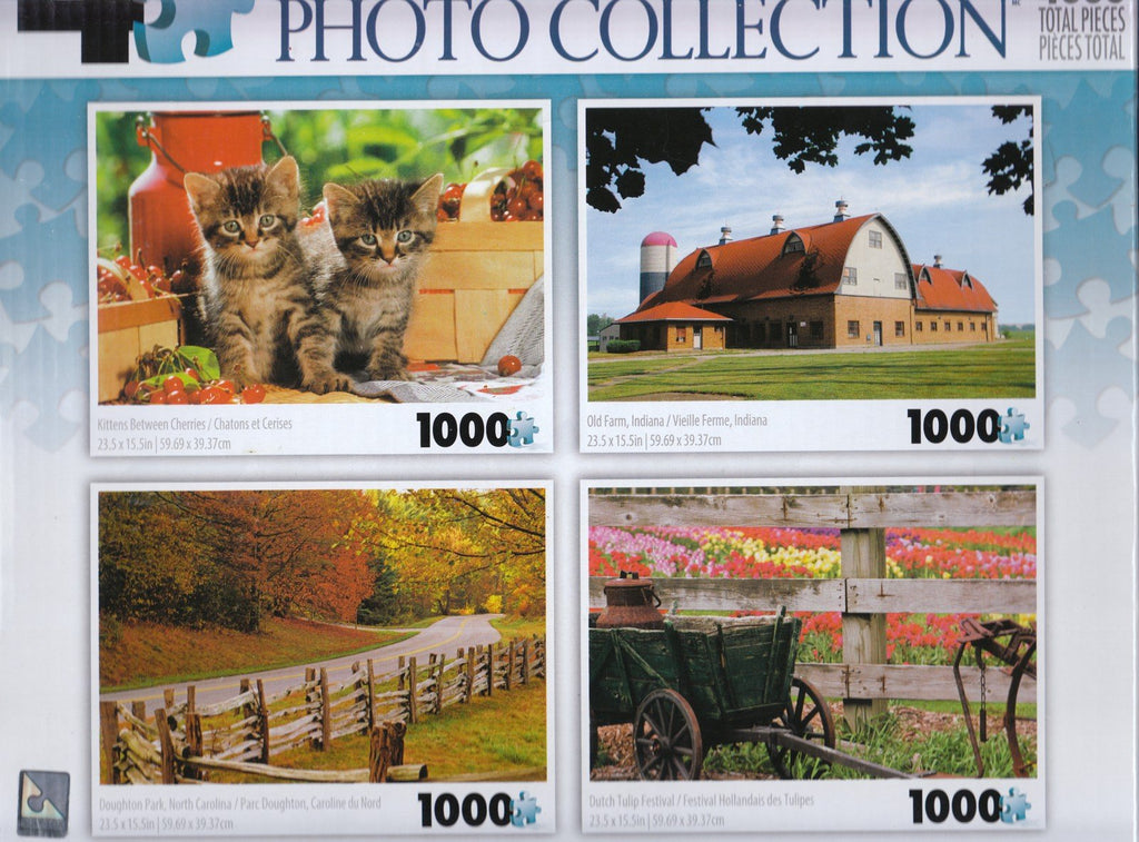 4 1000 Piece Puzzles: Kittens Between Cherries, Old Farm, Doughton Park, Dutch Tulip Festival