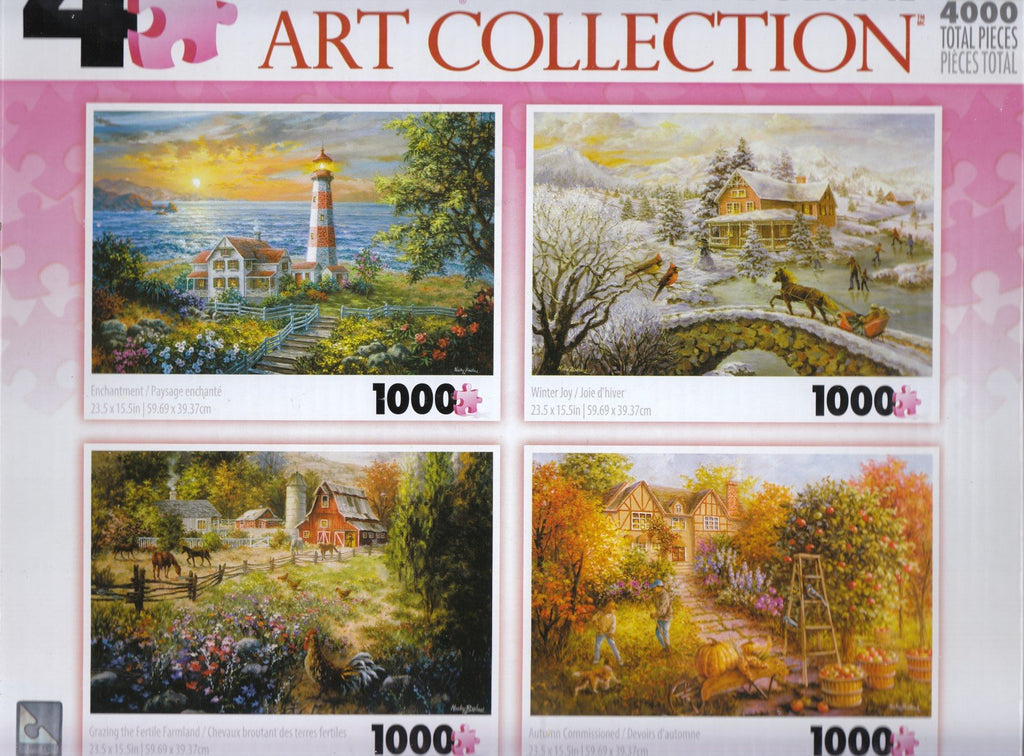 4 1000 Piece Puzzles: Enchantment, Winter Joy, Grazing the Fertile Farmland, Autumn Commissioned