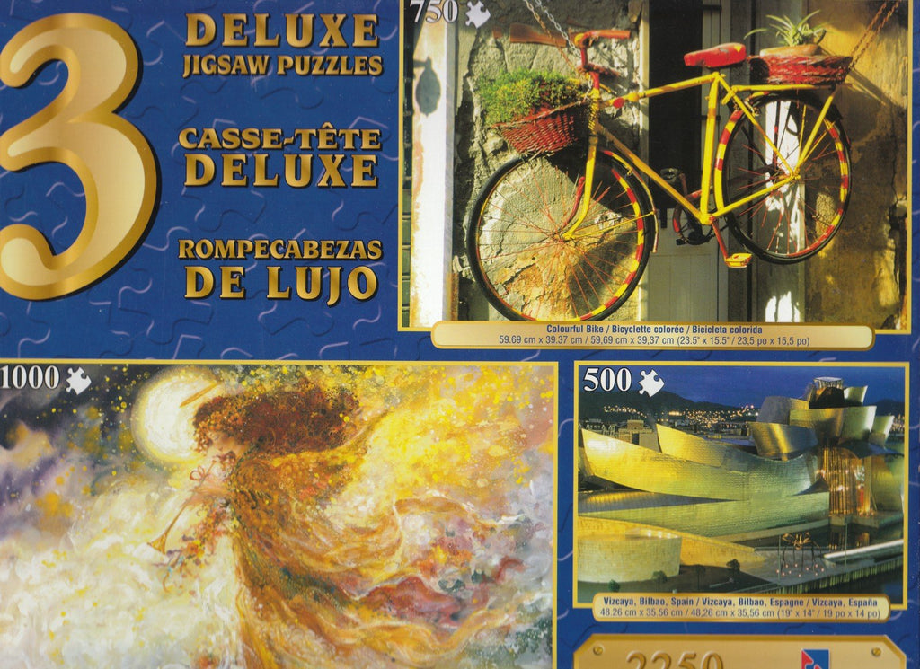 3 Deluxe Puzzles: Vizcaya,Bike, Angel 2250 Piece