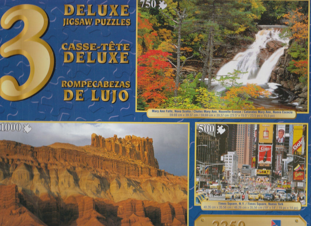 3 Deluxe Puzzles: Times Sq, Mary Ann, Castle 2250 Piece