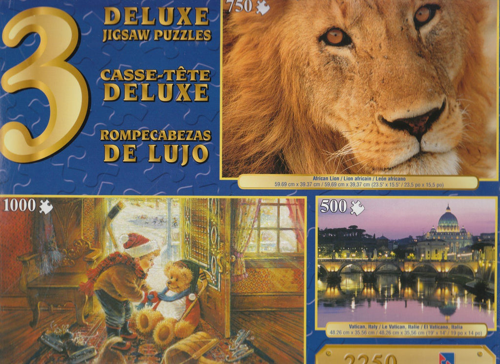 3 Deluxe Puzzles: You Play Goalie, African Lion, Vatican, Italy 2250 Piece