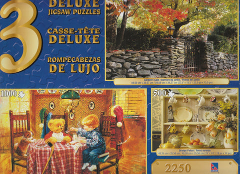 3 Deluxe Puzzles: Orange, Garden, Hot Soup 2250 Piece