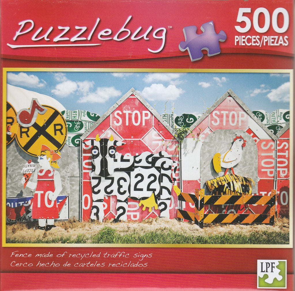 Puzzlebug 500 - Fence Made of Recycled Traffic Signs