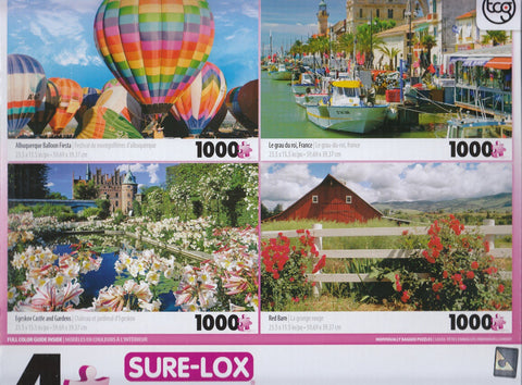 4 1000 Piece Puzzles: Albuquerque Ballon Fiesta, Le Grau Du Roi, Egeskov Castle and Gardens, Red Barn