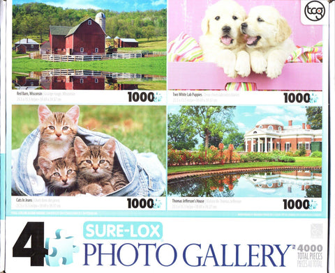 4 1000 Piece Puzzles: Red Barn, Two White Lab Puppies, Cats in Jeans, Thomas Jefferson's House